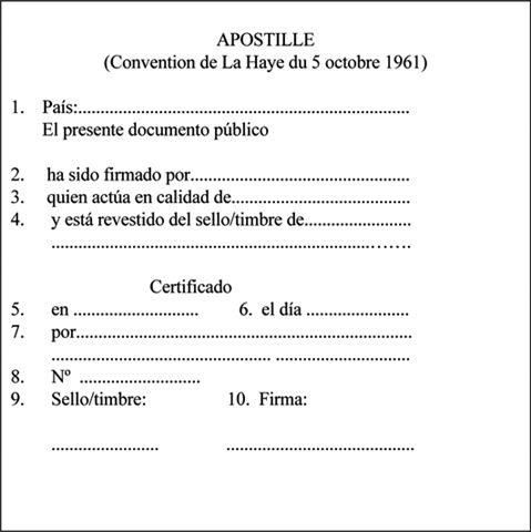 Modelo de apostilla de la Haya en español